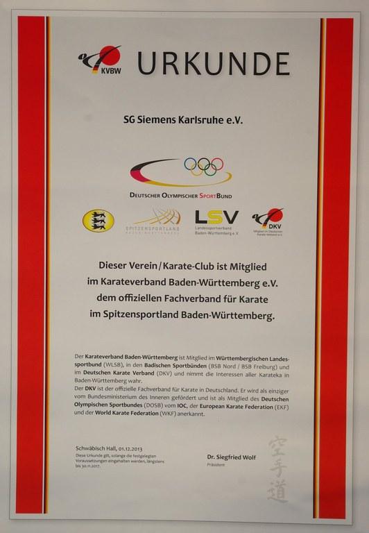 KVBW Urkunde